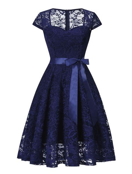 Milanoo Lace Vintage Dress 1950s Bow Sash Sweetheart Short Sleeves Pleated Swing Retro Summer Dress