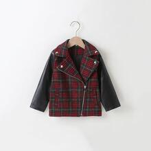 Toddler Boys Tartan Contrast PU Leather Sleeve Jacket