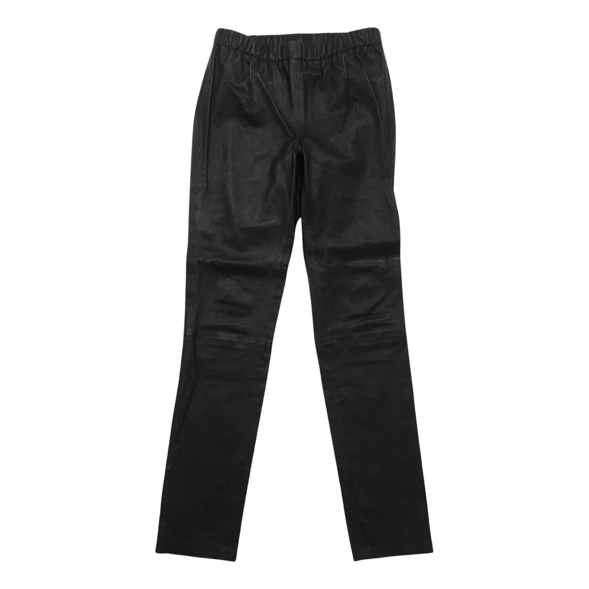 Baukjen \N Black Leather Trousers for Women 12 UK