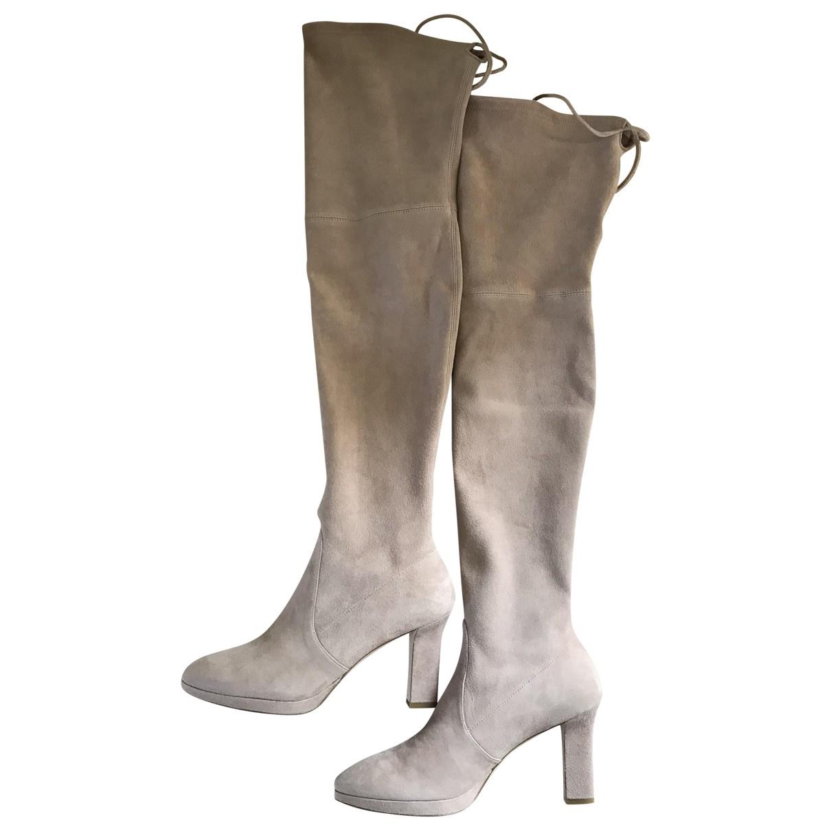 Stuart Weitzman \N Beige Suede Boots for Women 38.5 EU