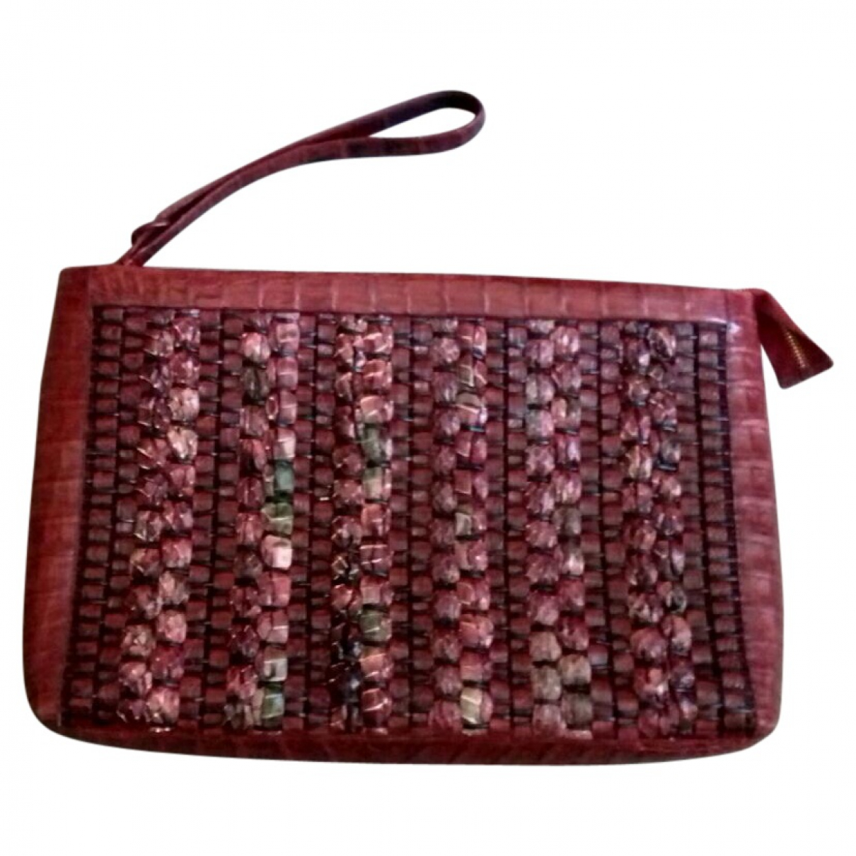 Nancy Gonzalez \N Clutch in  Bordeauxrot Exotenleder