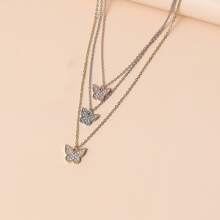 Rhinestone Butterfly Layered Necklace