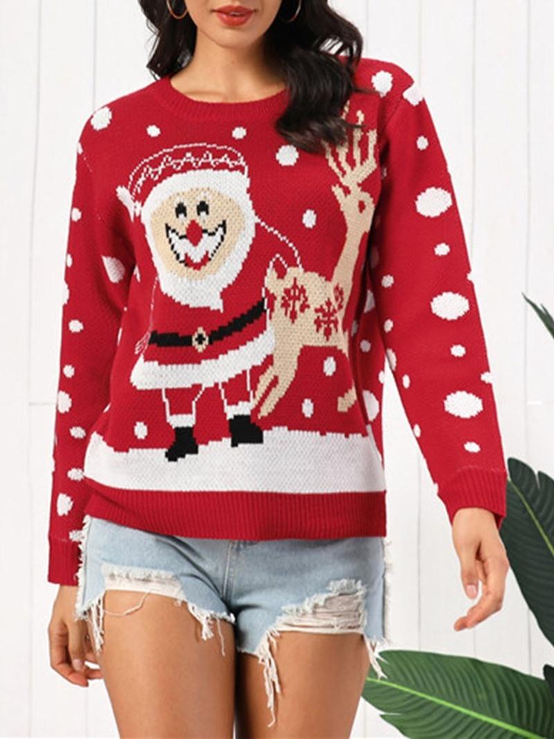 Ericdress Thin Mid-Length Long Sleeve Christmas Women's Sweater