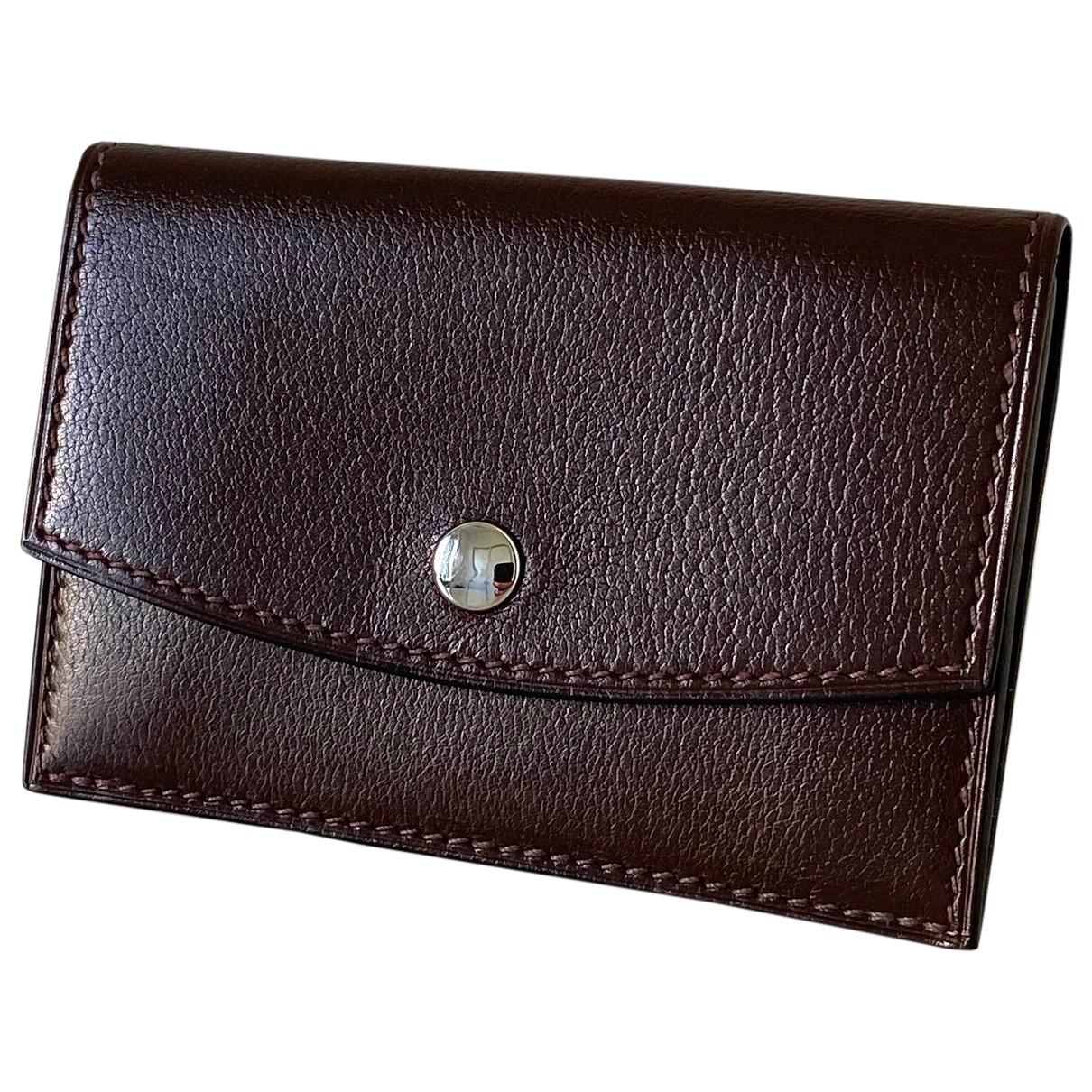 Hermès \N Brown Leather Small bag, wallet & cases for Men \N