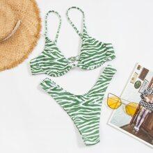 Zebra Striped Underwire High Cut Bikini Swimsuit