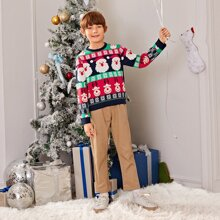 Boys Christmas Deer & Santa Claus Pattern Sweater