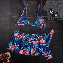 3 Packe Dreieckiger Bikini Badeanzug mit tropischem & Blumen Muster