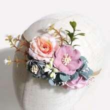Diadema de bebe con diseño de flor