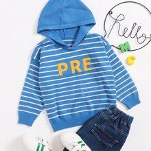 Pullover mit Buchstaben & Streifen Muster und Kapuze
