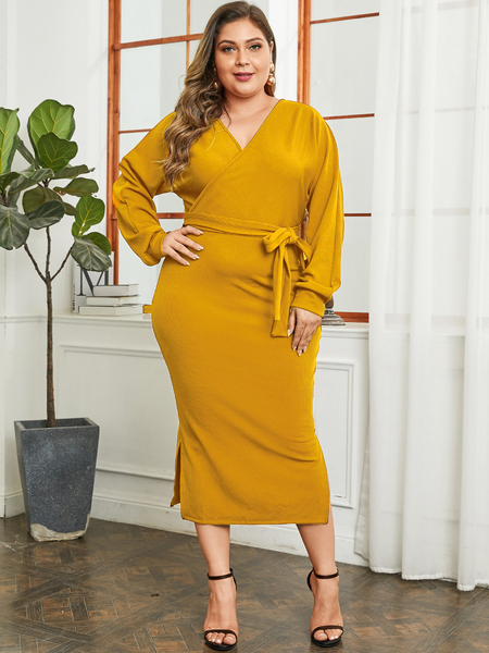 Yoins Plus Size Yellow Slit Design V-neck Long Sleeves Dress