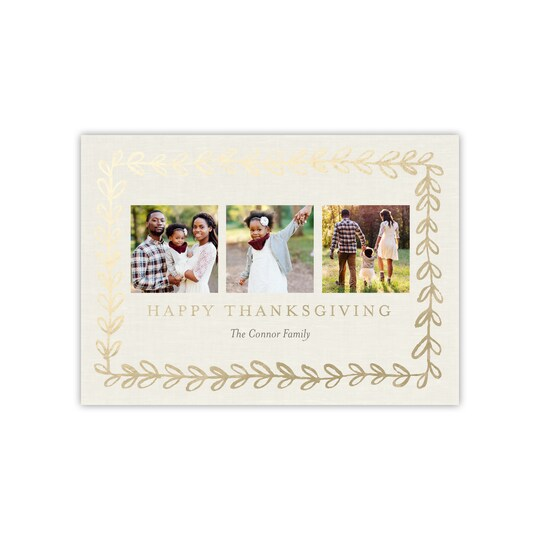 Gartner Studios® Personalized Gold Vine Flat Foil Thanksgiving Photo Card | Michaels®