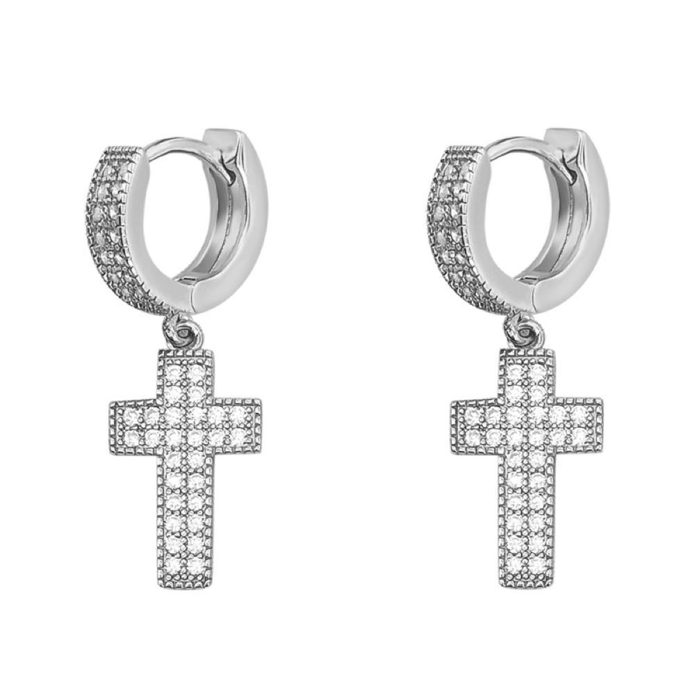 2 Row Tennis Cross Dangling Huggie Hoop CZ Iced Out Earrings .925 Silver