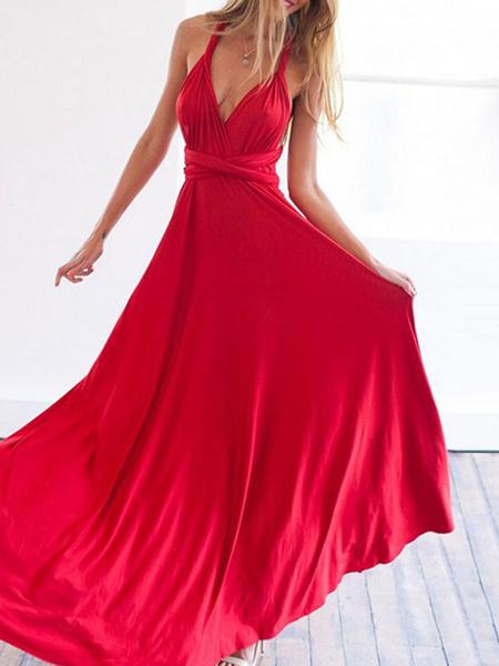 Milanoo Vestido largo estaño Moda Mujer Color liso sin mangas Vestidos de poliester muy escotado por detras con cordones con cuello en V
