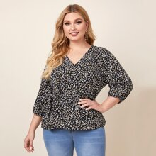 Plus All Over Print Belted Blouse