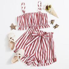 Crop Cami Top mit Streifen und Raffungsaum & Shorts Set mit Papiertaschen auf Taille