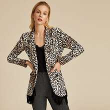 Blazer con estampado de leopardo con diseño de fleco de cuello con solapa