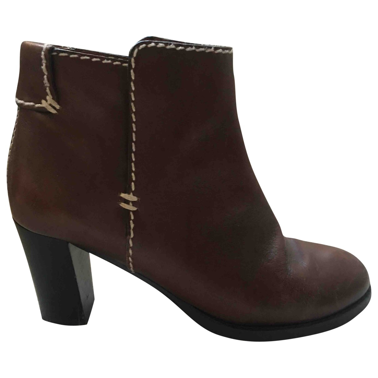 Chloé \N Brown Leather Ankle boots for Women 39.5 EU