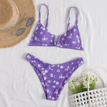 Floral V Wired Bikini Swimsuit
