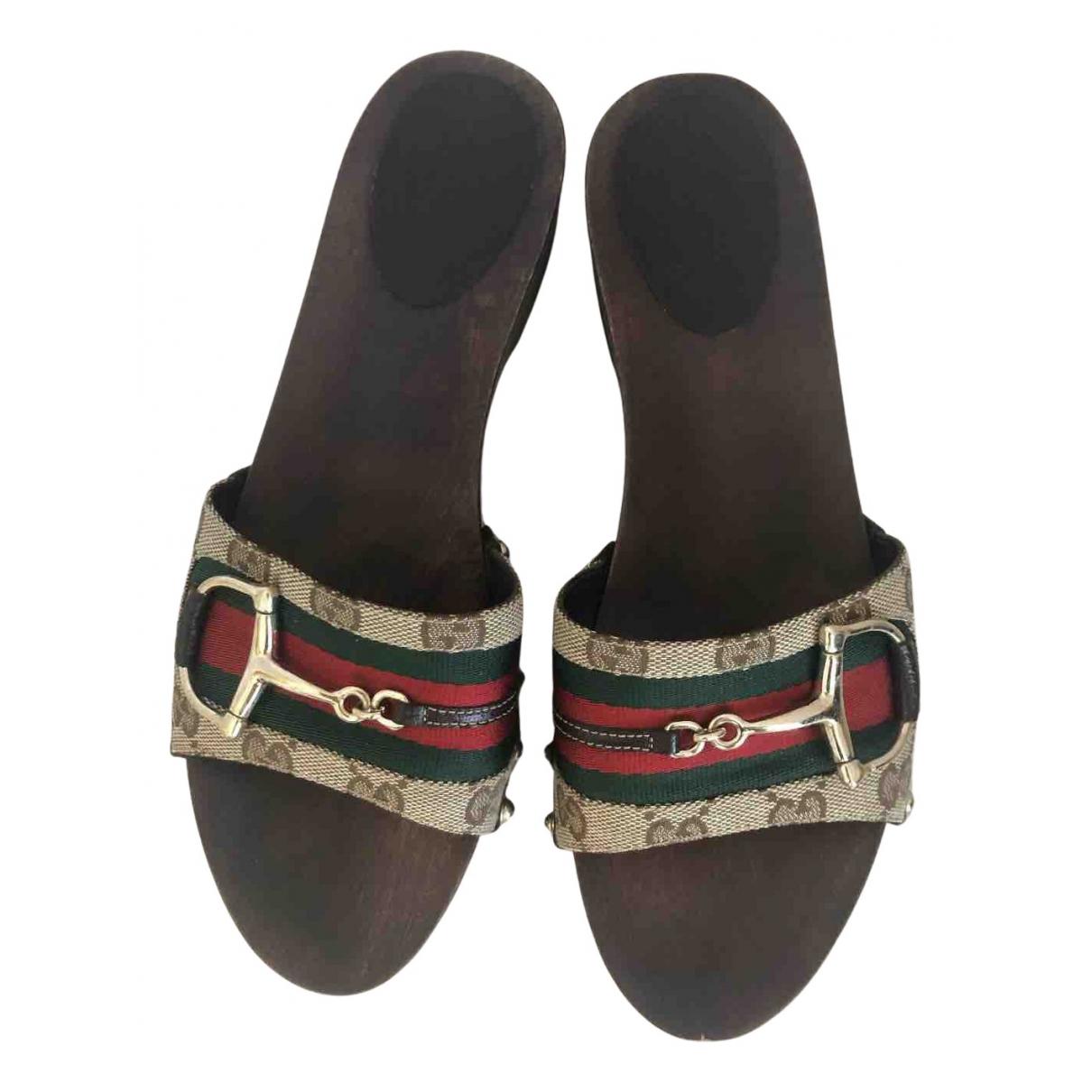 Gucci N Brown Cloth Sandals for Women 38.5 EU