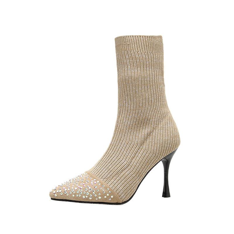 Ericdress Rhinestone Slip-On Stiletto Heel Women's Ankle Boots