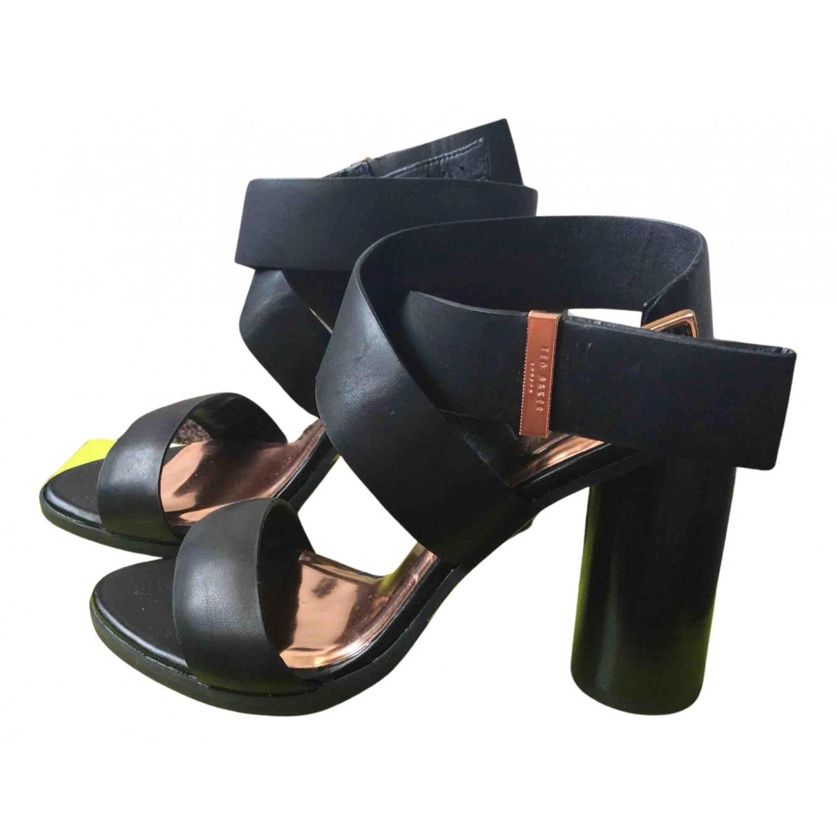 Ted Baker N Black Leather Sandals for Women 4 UK