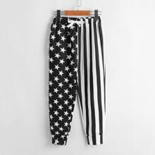 Pantalones de rayas con estrella de cintura con cordon