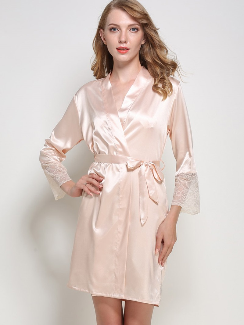 Eircdress Lace Bowknot Nightgown and Nine Points Sleeve Robe