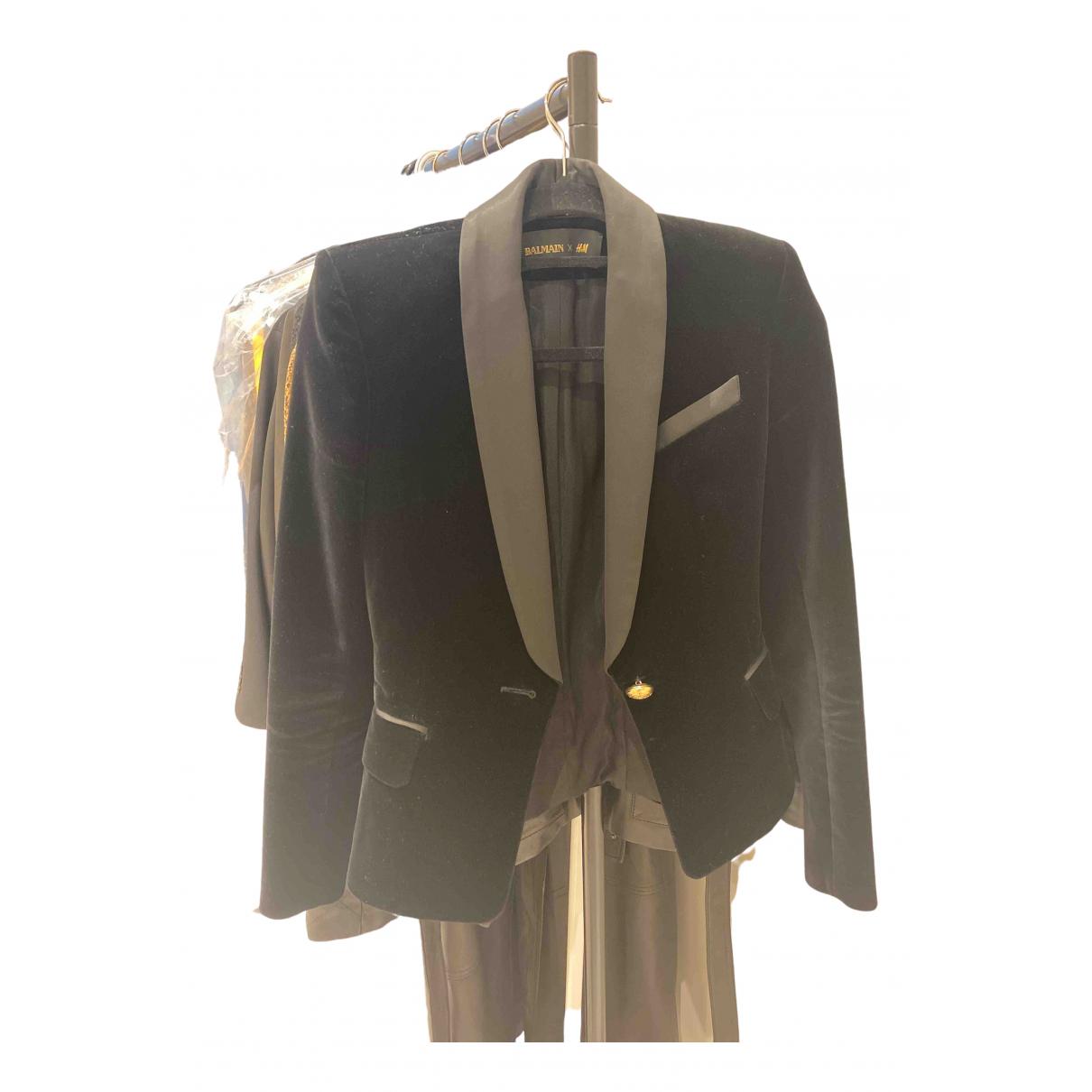 Balmain For H&m - Veste   pour femme en velours - noir