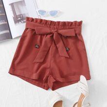 Zweireihige Shorts mit Papiertasche Taille und Guertel