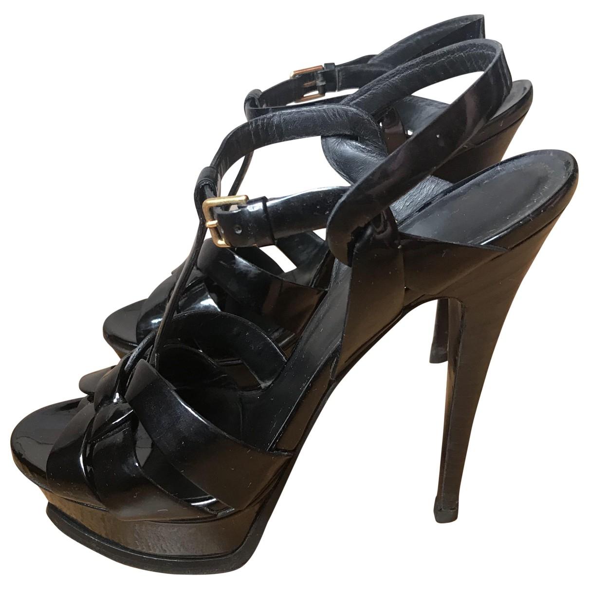 Yves Saint Laurent Tribute Black Patent leather Sandals for Women 39.5 EU
