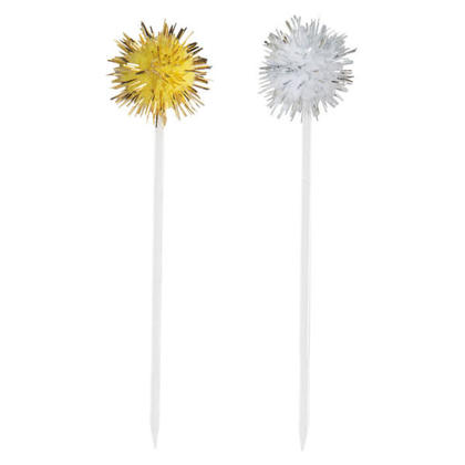 Food and Cocktail Picks Silver and Gold Pom Pom 8Pcs