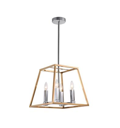 YS5212-4GDCH 4-Light Ceiling Fixture with Iron and Glass Materials and 40 Watts in Gold and Chrome