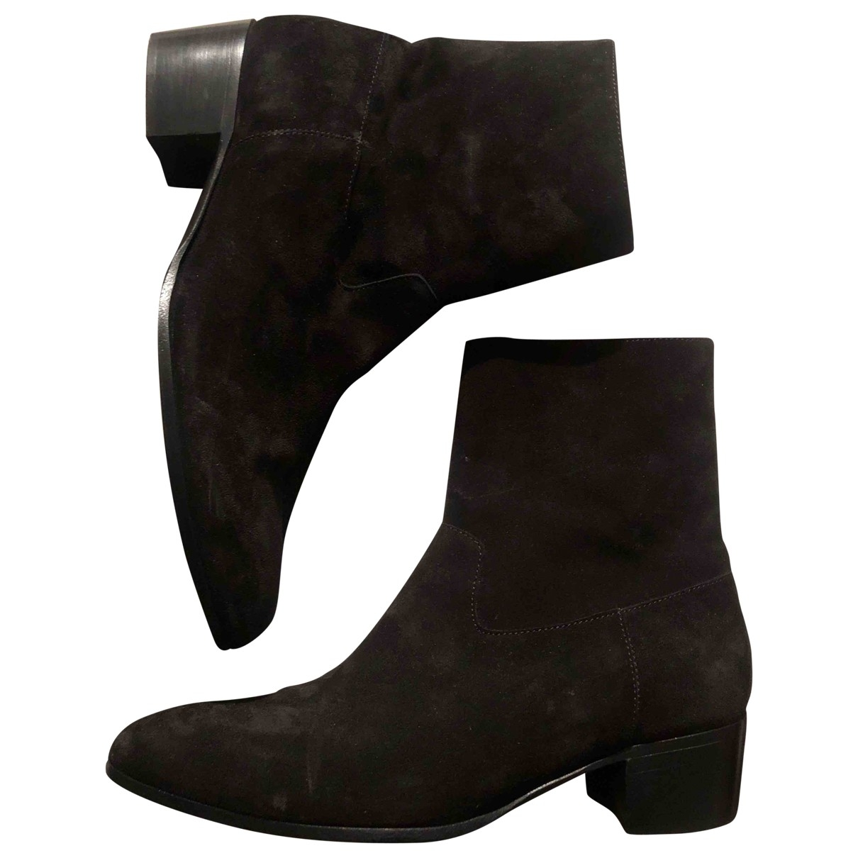 Non Signé / Unsigned \N Black Suede Ankle boots for Women 39.5 EU