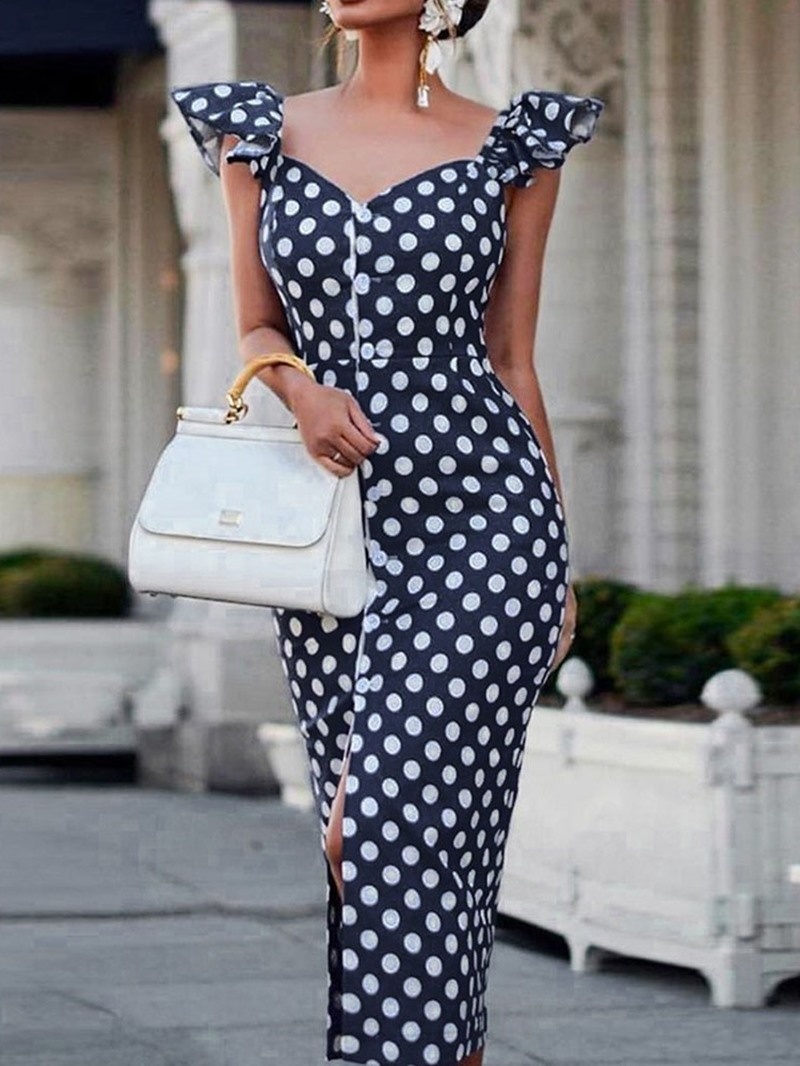 Ericdress Bodycon Polka Dots Cap Sleeve Single-Breasted Elegant Dress
