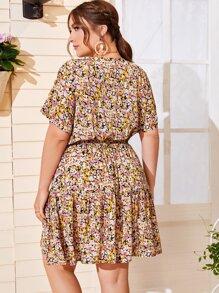 Plus Allover Floral Surplice A-line Dress