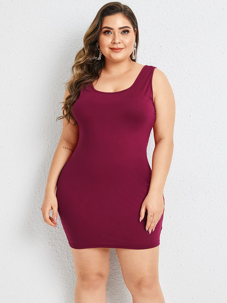 Yoins Plus Size Scoop Neck Sleeveless Dress