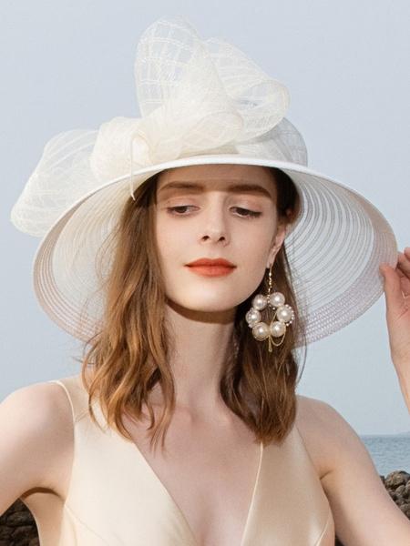 Milanoo White Fascinator Hat Royal Bows Headpieces Retro Hair Accessories Halloween
