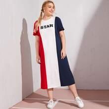 Plus Colorblock Letter Graphic Dress