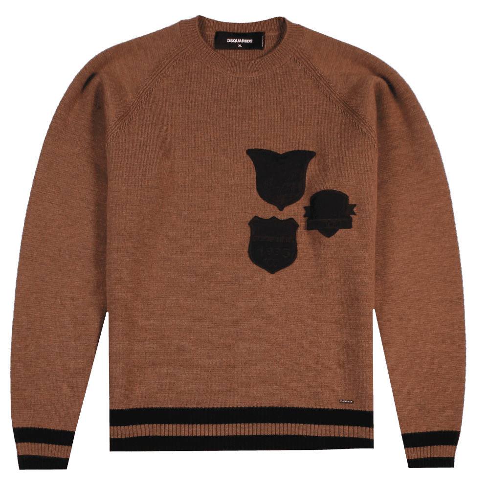 Dsquared2 Badge Knitted Sweater Brown Colour: BROWN, Size: EXTRA EXTRA