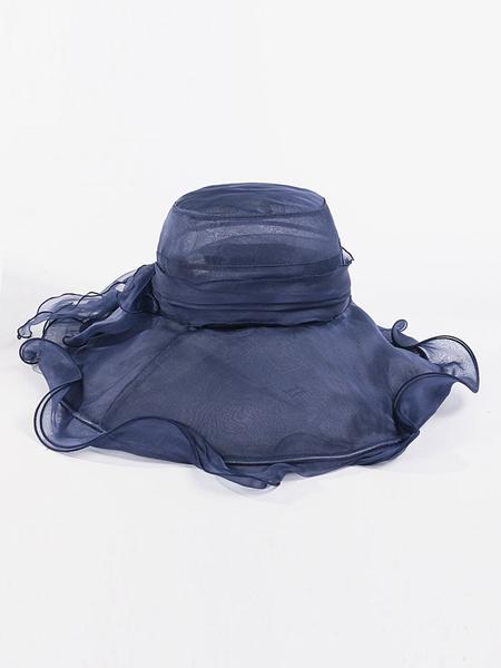 Milanoo Women Sun Bonnet Silk Ruffle Wide Brim Bowler Hat