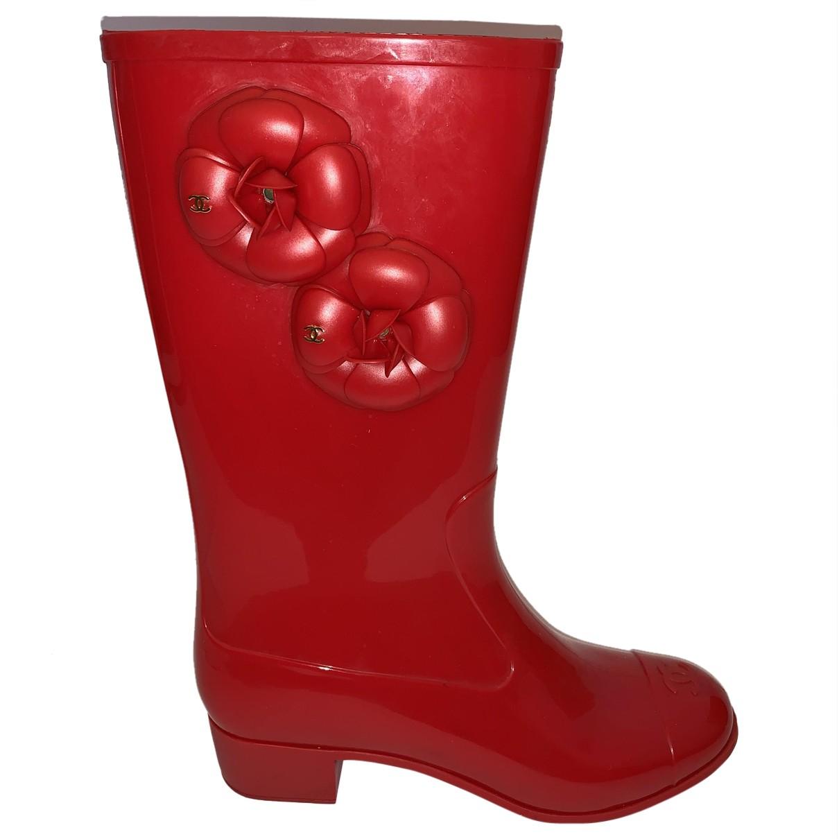Chanel - Bottes   pour femme en caoutchouc - rouge