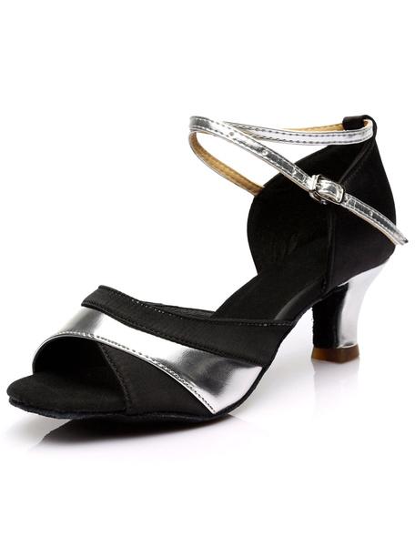 Milanoo Negro Peep Toe zapatos de Saten de baile para las mujeres