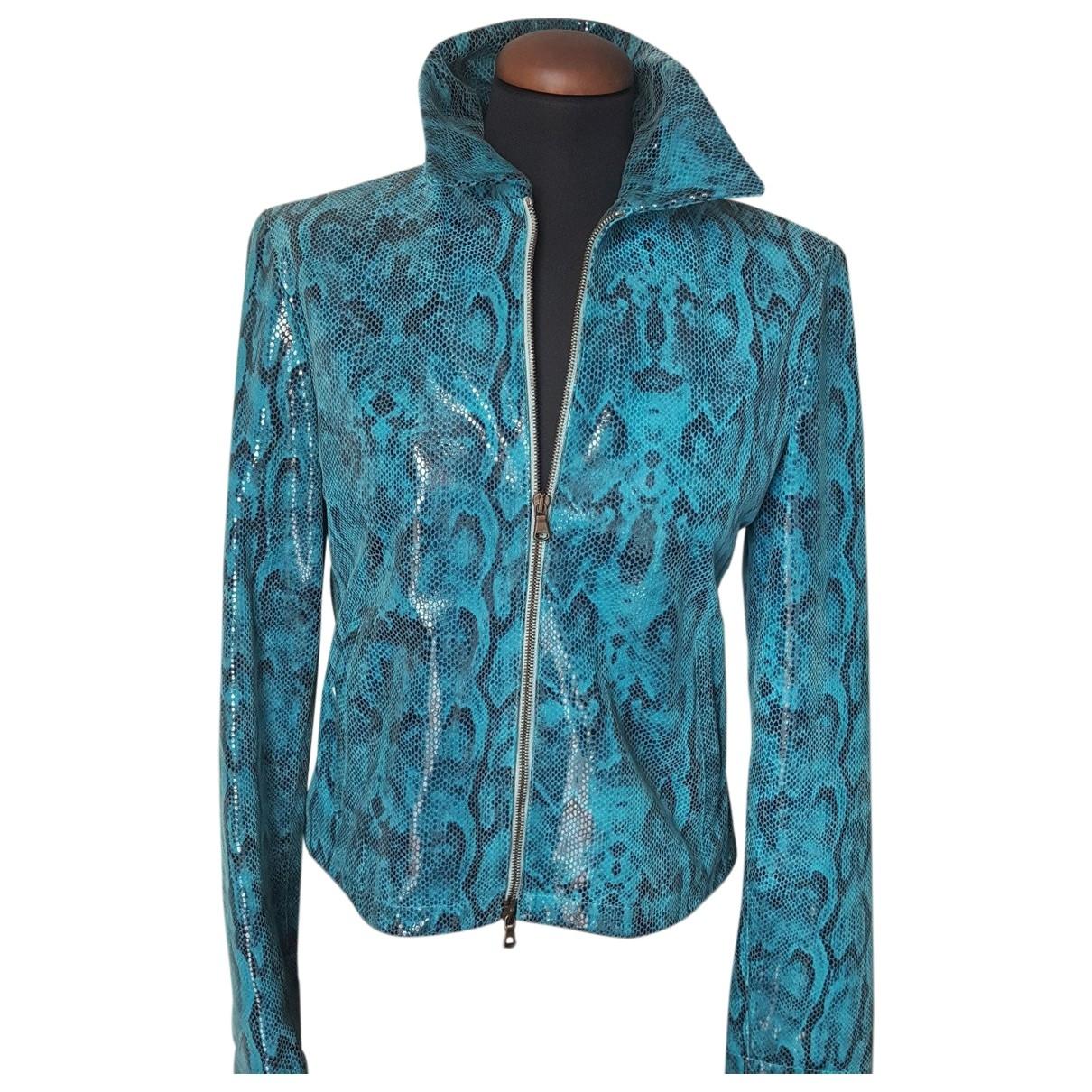 - Veste   pour femme en cuir - turquoise