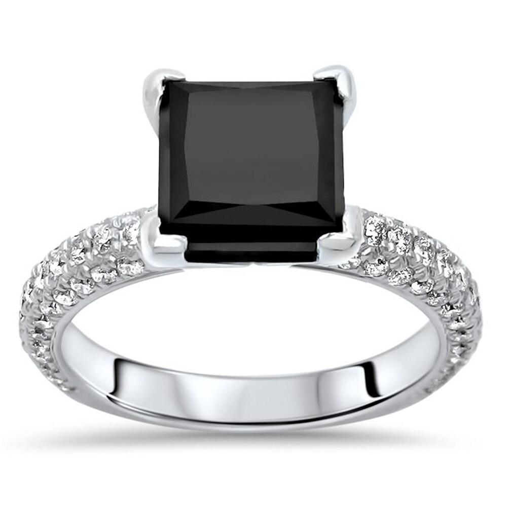 14k White Gold 3.25ct Princess Cut Black Diamond Pave Engagement Ring (6.5)