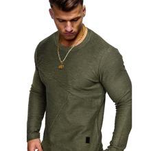 Einfarbiges T-Shirt mit Flicken und langen Ärmeln