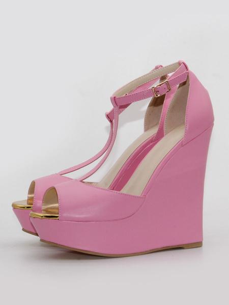 Milanoo Tacones de cuña Peep Toe T-Type Vendaje Zapatos de talla grande para mujer