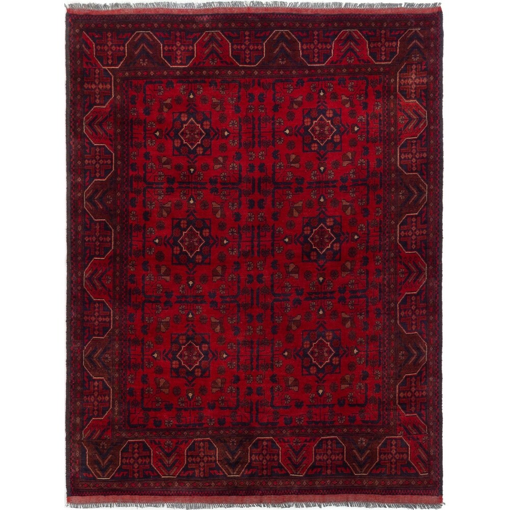 ECARPETGALLERY Hand-knotted Finest Khal Mohammadi Red Wool Rug - 5'0 x 6'5 (Red - 5'0 x 6'5)