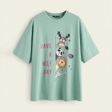 Camiseta con estampado de slogan y dibujos animados de hombros caidos