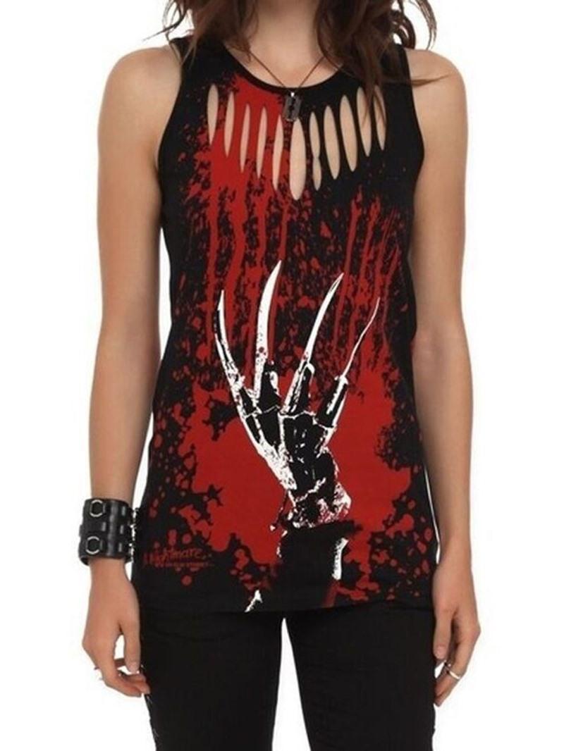 Ericdress Hollow Color Block Print Mid-Length Sleeveless T-Shirt