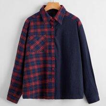 Camisa de tartan unida con bolsillo delantero